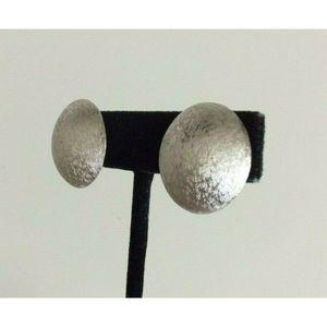 Trifari Jewelry - Crown Trifari Earrings Textured Silver Tone Dome
